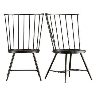 Walker Black Wood and Metal High Back Dining Chair (Set of 2)