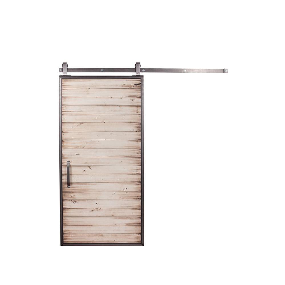 Rustica Hardware 42 in. x 84 in. Mountain Modern White Wash Wood Barn Door with Mountain Modern Sliding Door Hardware Kit