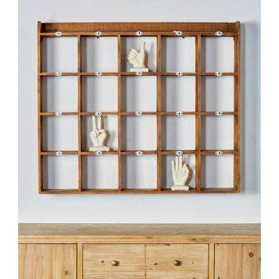 Brown Wood 20-Compartment Wall Rack
