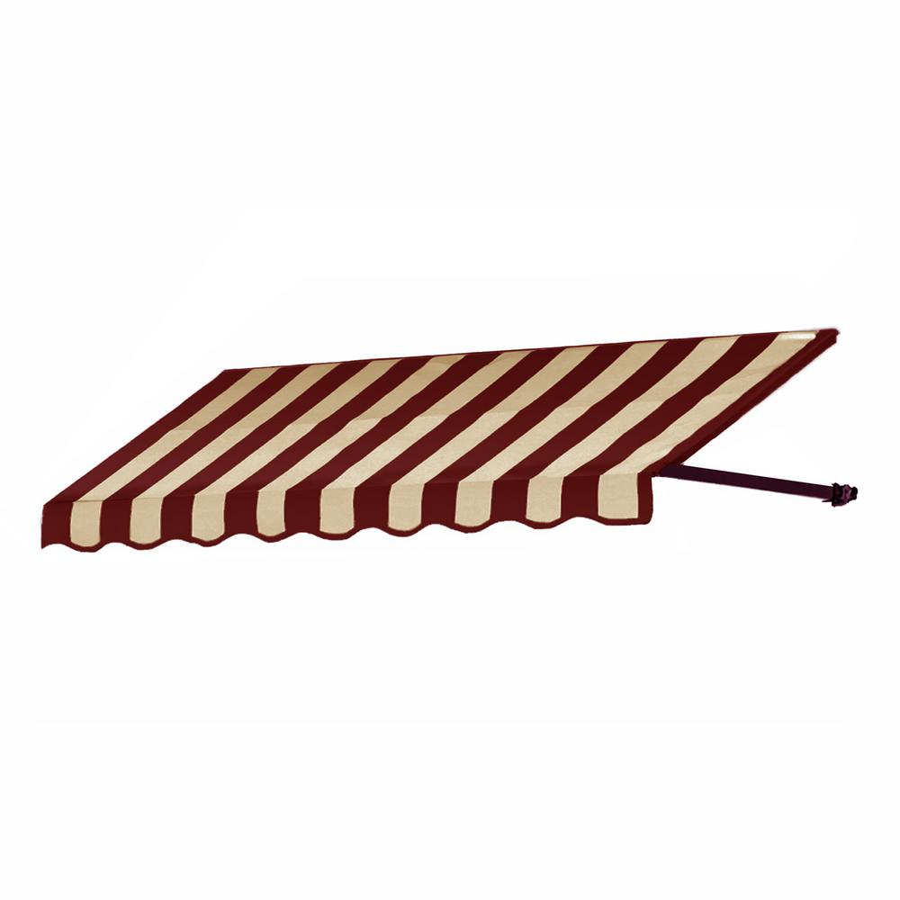 AWNTECH 10.38 ft. Wide Dallas Retro Window/Entry Awning (24 in. H x 42 in. D) Burgundy/Tan