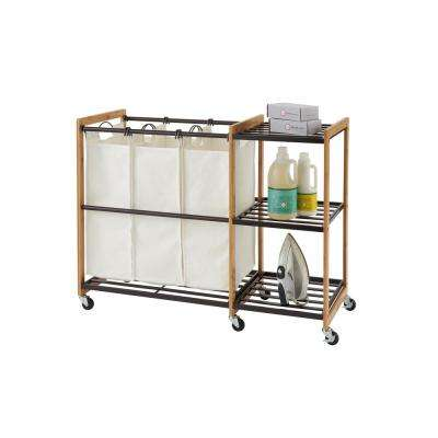 EcoStorage Wheeled 3-Bag Bamboo Laundry Station in Bronze