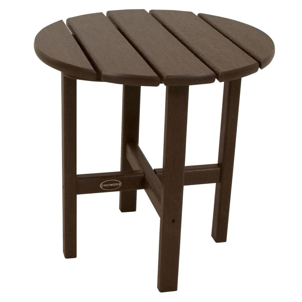 18 in. Mahogany Round Patio Side Table