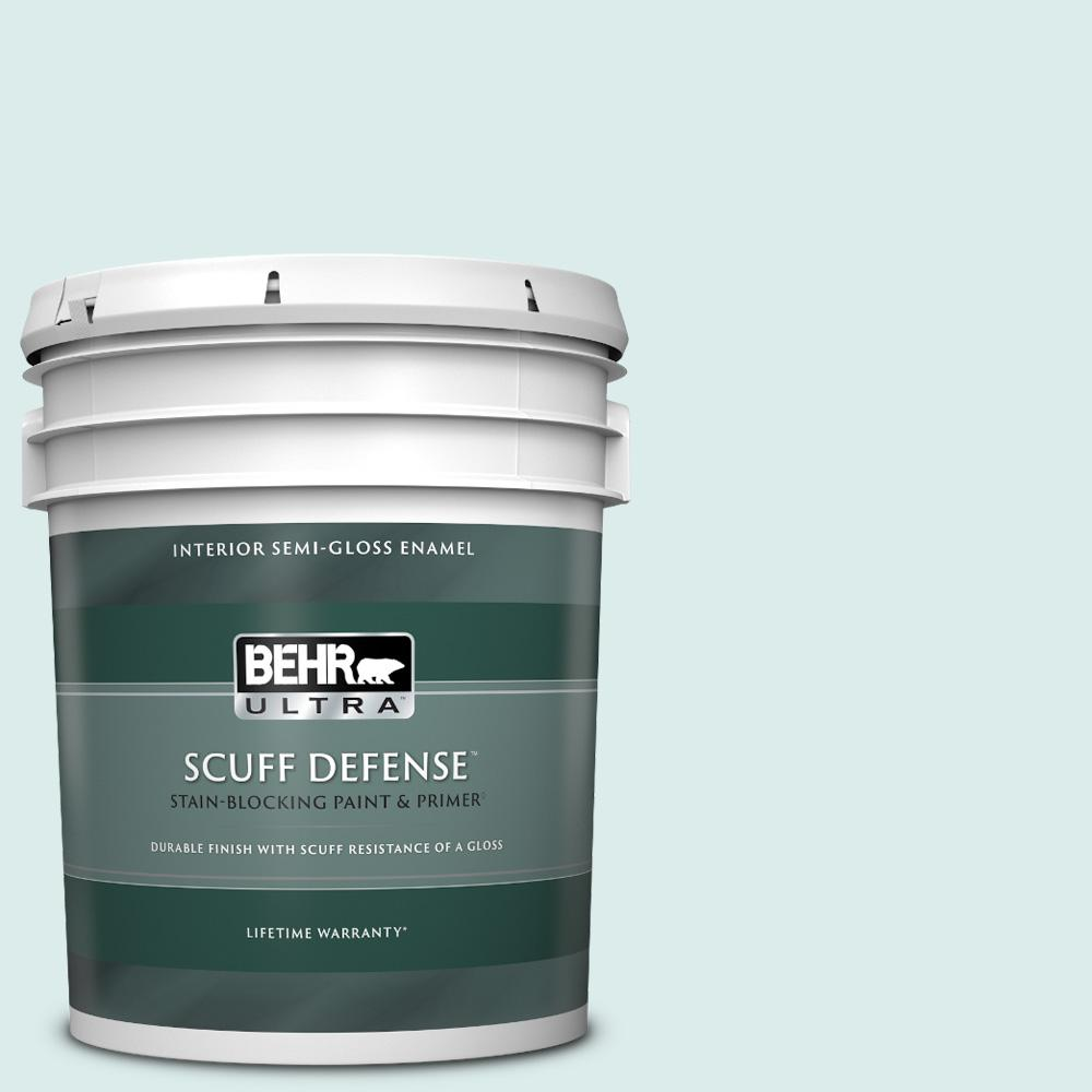 Reviews For Behr Ultra 5 Gal 510e 1 Ice Folly Extra Durable Semi Gloss Enamel Interior Paint Primer 375005 The Home Depot