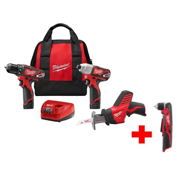 Milwaukee M12 12-Volt Lithium-Ion Cordless Combo Tool Kit (3-Tool) W/ Free M12 Right Angle Drill