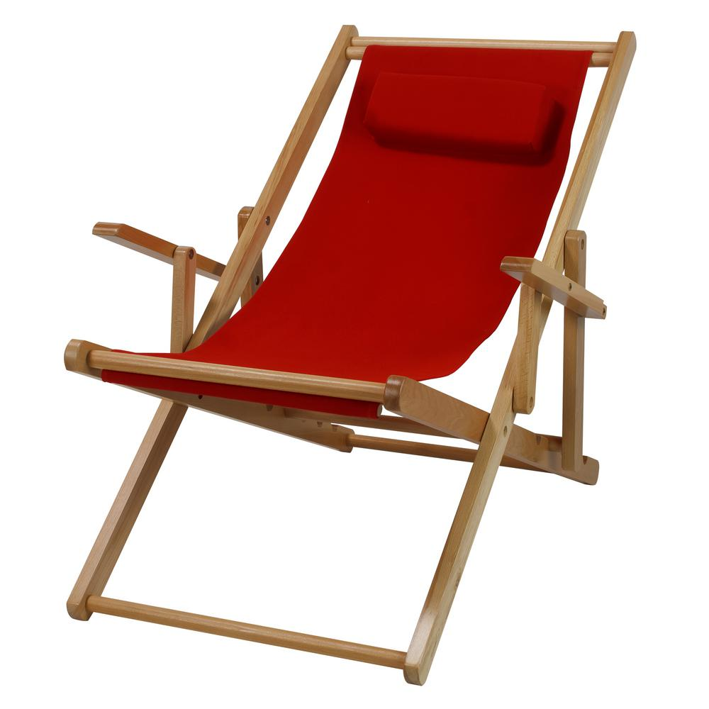 Casual Home Natural Frame And Red Canvas Solid Wood Sling Chair