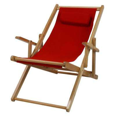 Natural Frame and Red Canvas Solid Wood Sling Chair