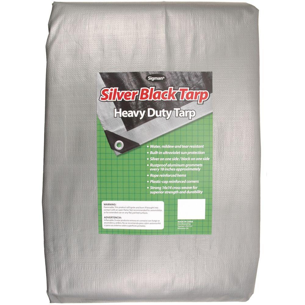Heavy Duty Green//Black Reversible 10 Mil Poly Tarp 20x30