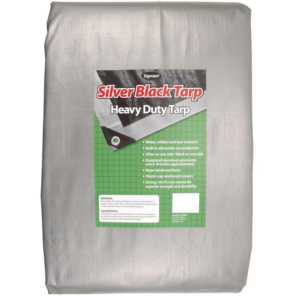 Sigman 40 ft. x 40 ft. Silver Black Heavy Duty Tarp