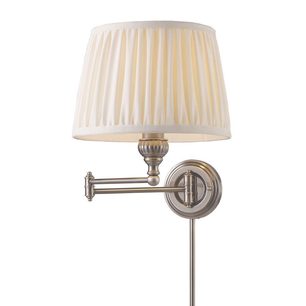 Titan Lighting 1-Light Antique Nickel Swing Arm Wall-Mount