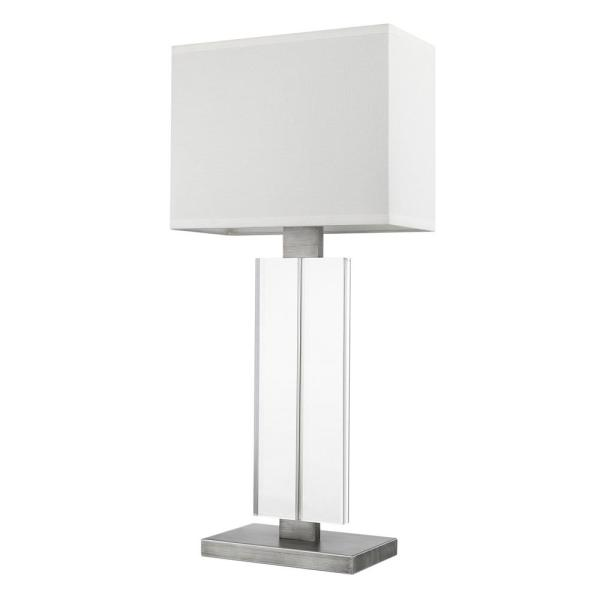Shine 30.25 in. 1-Light Acrylic And Hand Painted Weathered Pewter Table Lamp With Off-White Shantung Shade