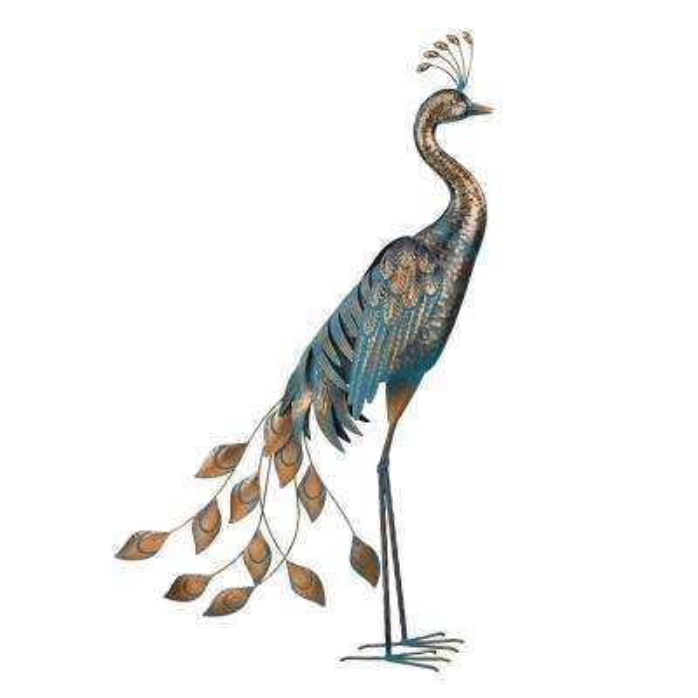 Large Patina Peacock Decor - Classic Pose