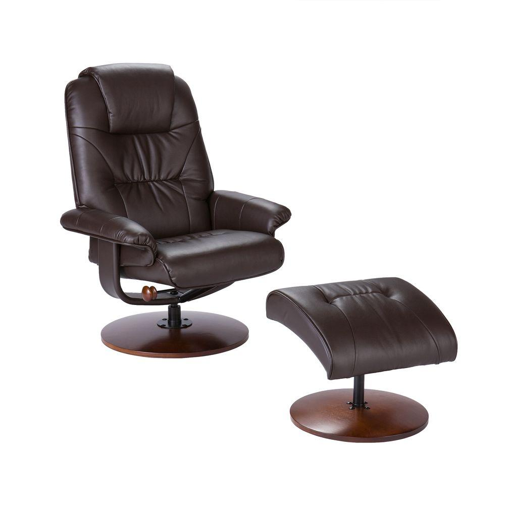 Southern Enterprises Cafe Brown Leather Reclining Chair With Ottoman