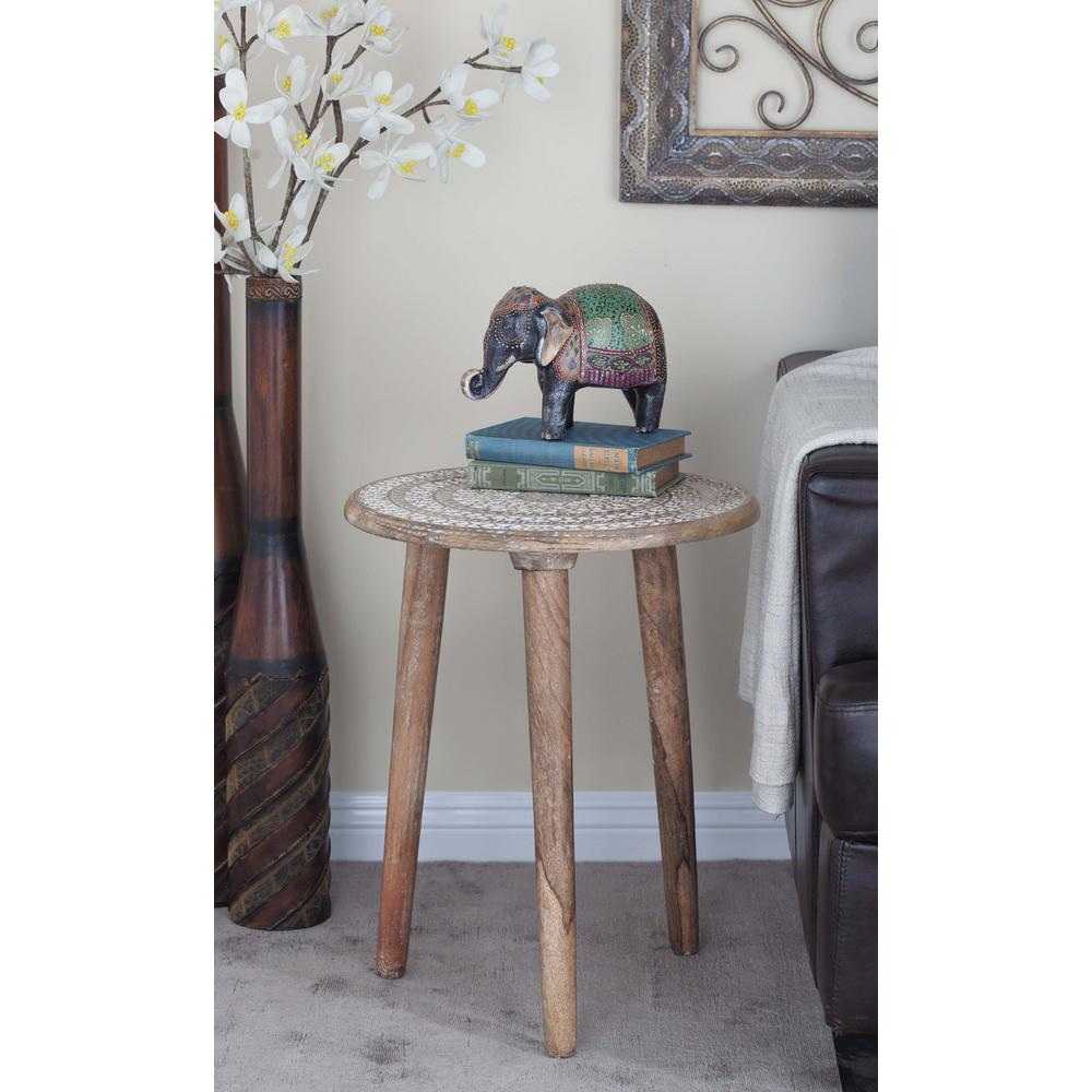 Light Brown Carved Wood 3-Legged Accent Table