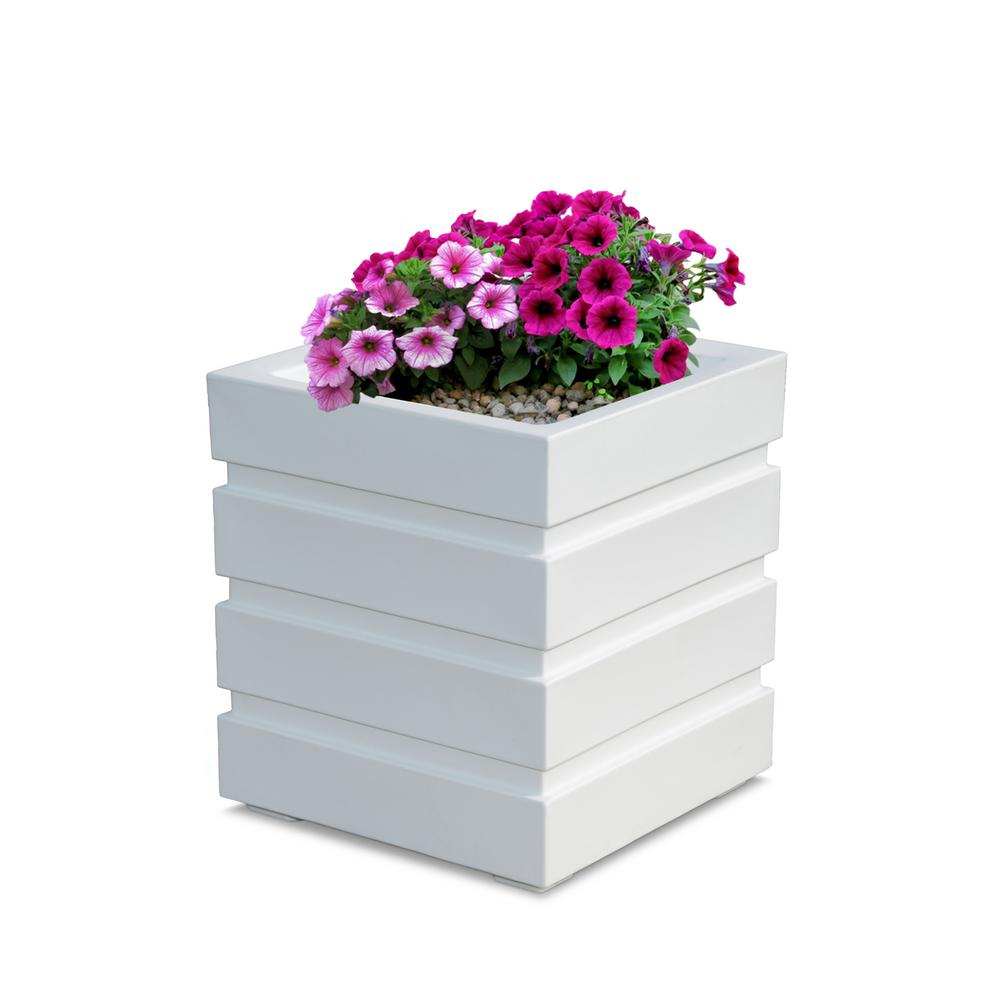 mayne freeport 18 in  square white plastic planter-5860-w