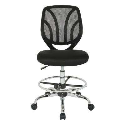 Black Mesh Screen Back Armless Drafting Chair with Adjustable Foot Ring and Dual Wheel Carpet Casters