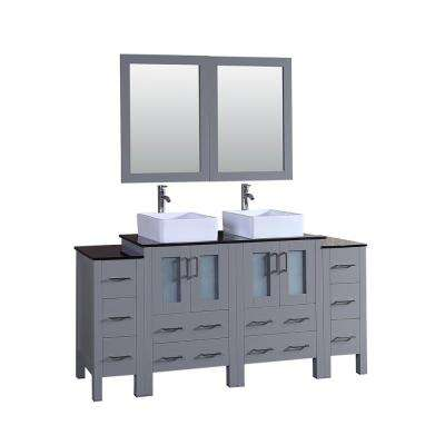 Bosconi 72 in. W Double Bath Vanity in Gray with Vanity Top in Black with White Basin and Mirror