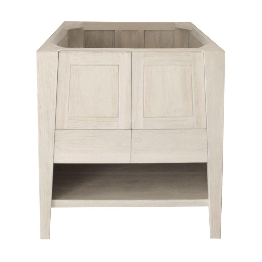 W Teak Vanity Bath Cabinet Only in Driftwood