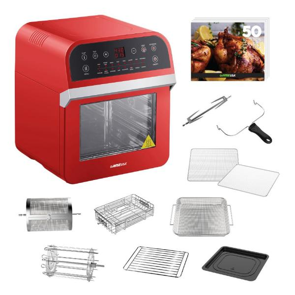 GoWISE USA 1600 W Red Rotisserie Oven and 12.7 Qt. Electric