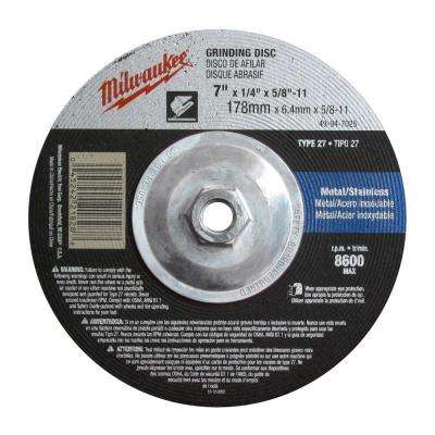7 in. x 1/4 in. x 5/8-11 in. Grinding Wheel (Type 27)