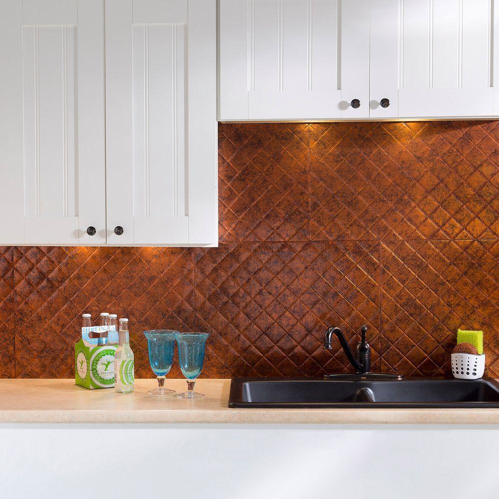 Amazing Quilted PVC Decorative Backsplash Panel in Moonstone Copper Style - Simple copper tile backsplash New Design