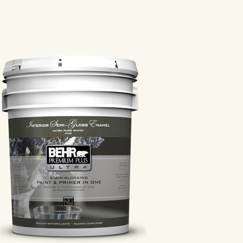 5-gal. #BXC-29 Stately White Semi-Gloss Enamel Interior Paint