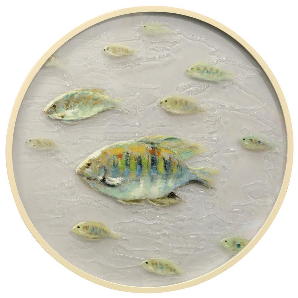 Porthole A Clear, Egg Shell White Rippled Glass, Wood Framed Wall Art
