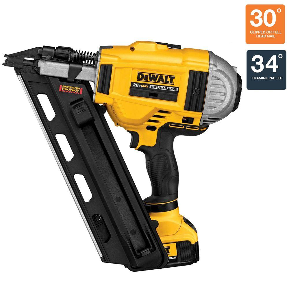 Dewalt 20 volt max xr lithium ion cordless brushless 2 speed 33 dewalt 20 volt max xr lithium ion cordless brushless 2 speed 33 degree framing nailer with battery 4ah and charger dcn692m1 the home depot jeuxipadfo Images