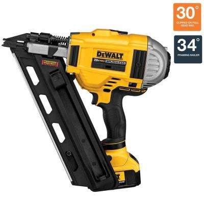 20-Volt MAX XR Lithium-Ion Cordless Brushless 2-Speed 33-Degree Framing Nailer with Battery 4Ah and Charger