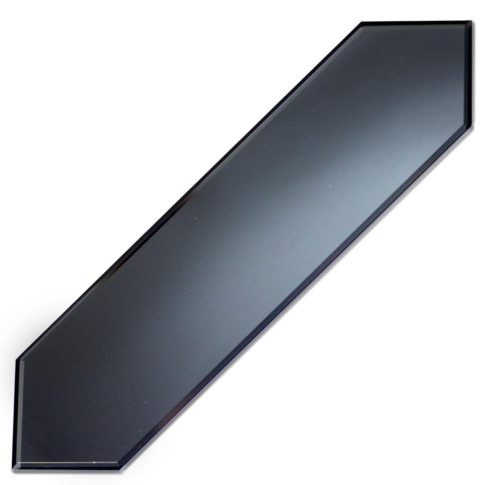ABOLOS Reflections Graphite Blue Beveled Picket 3 in. x 12 in. Matte Glass Mirror Wall Tile (0.21 Sq. ft./Pc)