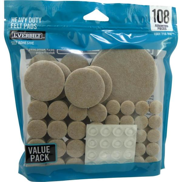 Assorted Felt Pads, Felt Sliders and Bumpers Value Pack (108-Piece)
