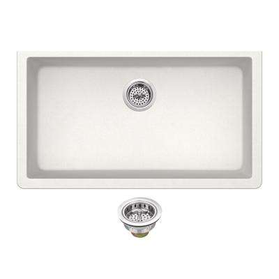 Undermount Quartz 33 in. 0-Hole Single Bowl Kitchen Sink in Alpine White with Drain Assembly