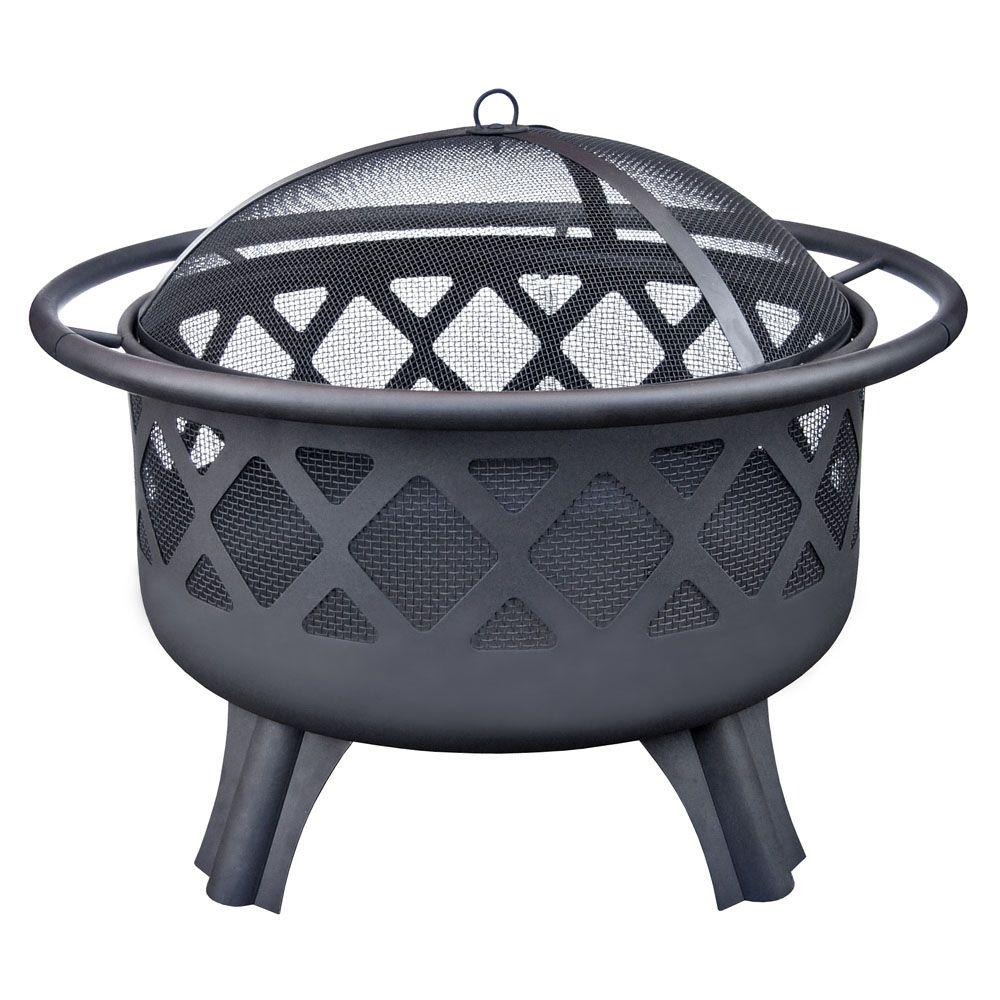 Hampton Bay Crossfire 29.50 in. Steel Fire Pit with Cooking Grate - Hampton Bay Crossfire 29.50 In. Steel Fire Pit With Cooking Grate