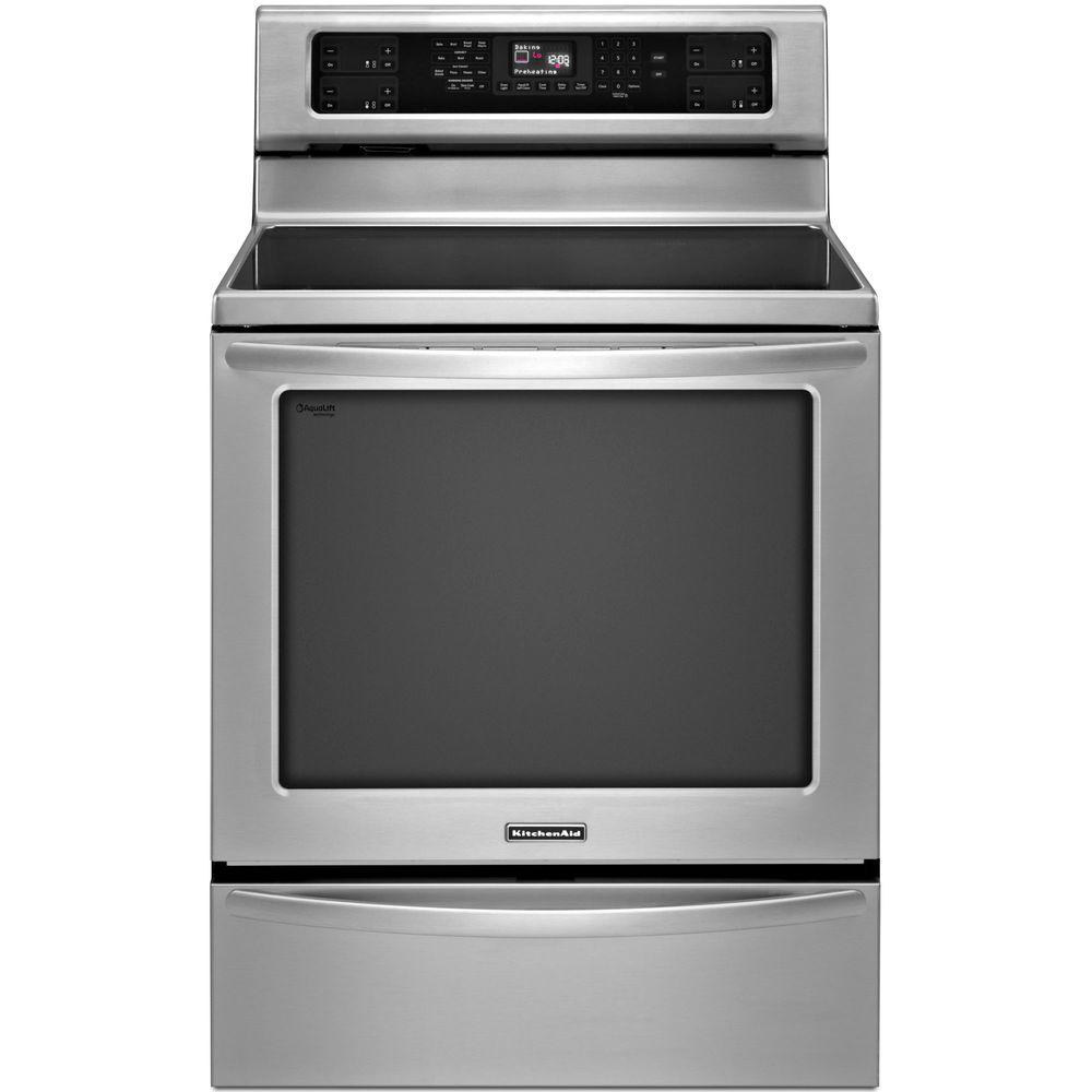 KitchenAid Architect Series II 6.2 cu. ft. Electric Induction Range Double Oven with Self-Cleaning Oven in Stainless Steel