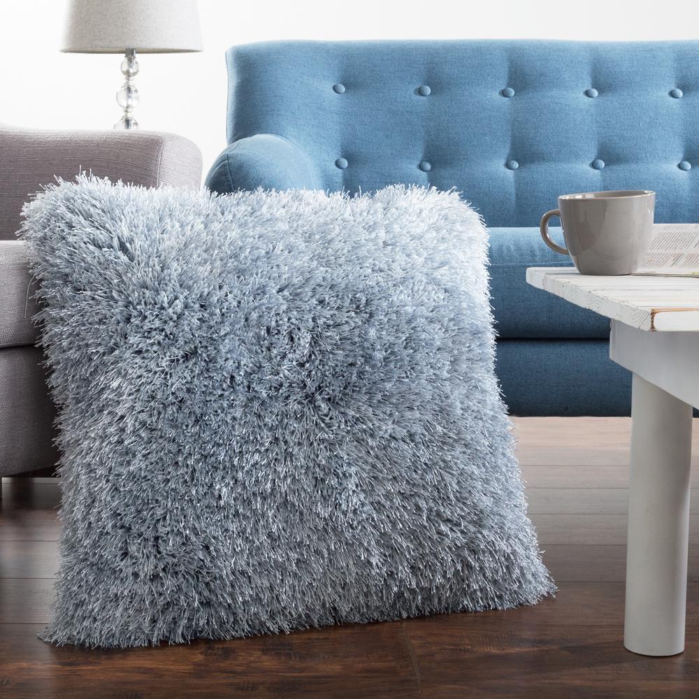 Lavish Home 21 in. x 21 in. Blue Shag Floor Decorative Pillow-66-04 ...