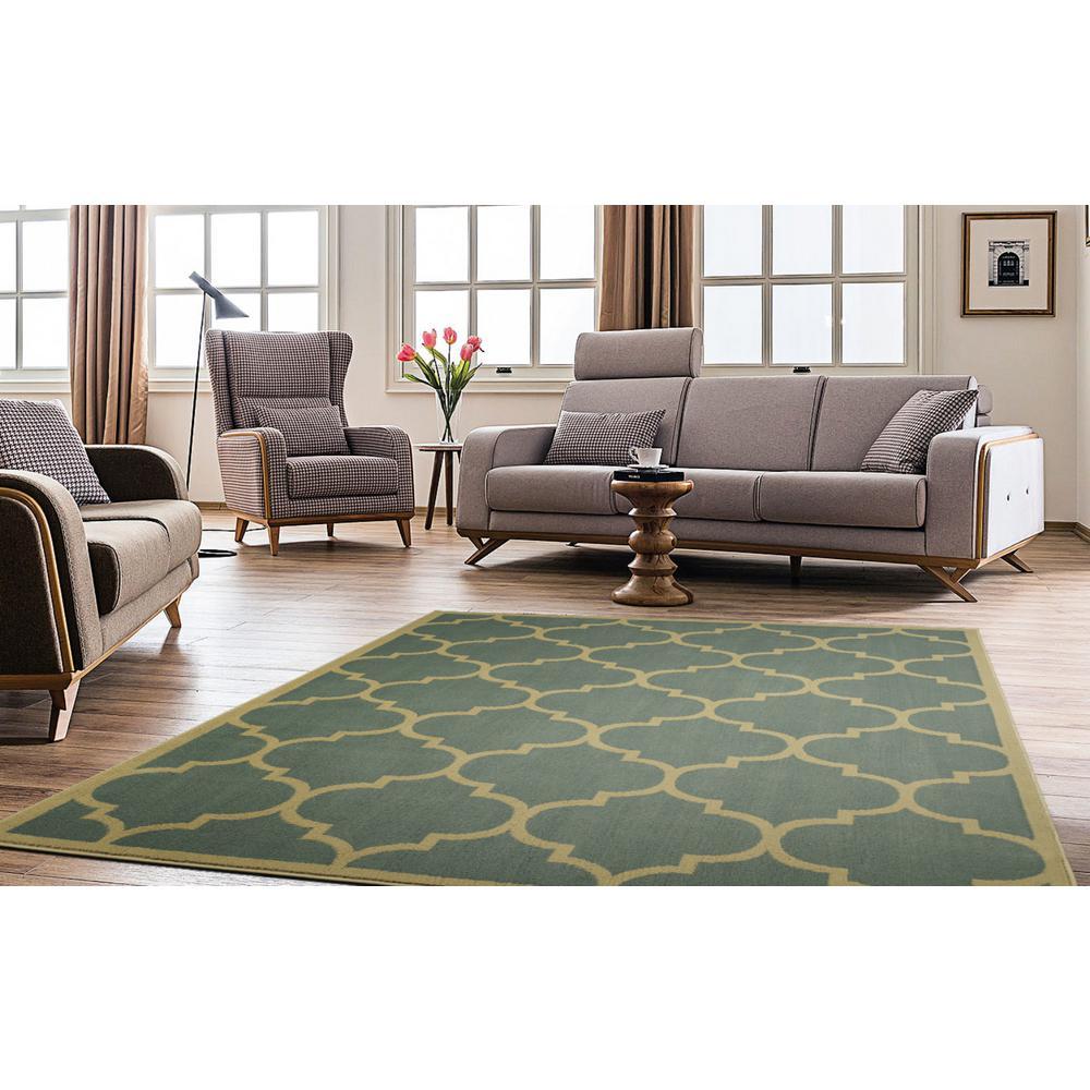 8x10 Sage Area Rug: Paterson Collection Contemporary Moroccan Trellis Design