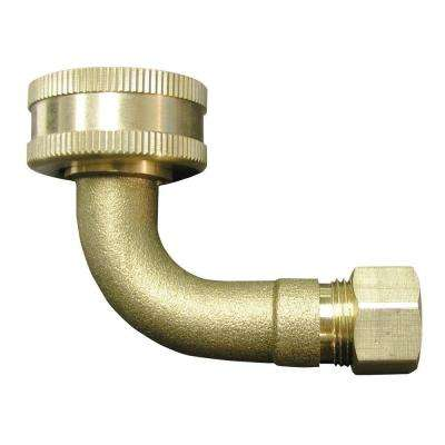 3/8 in. O.D. x 3/4 in. FHT Lead-Free Brass Compression Dishwasher Adapter 90-Degree Elbow