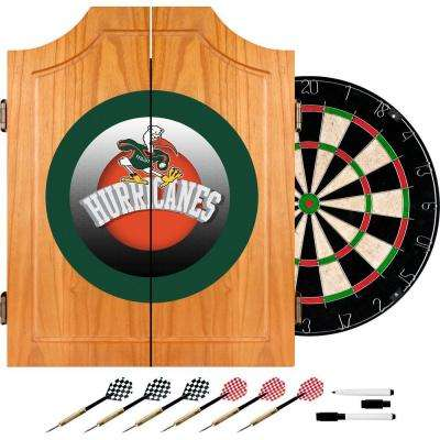 University of Miami Honeycomb 20.5 in. Wood Dart Cabinet Set