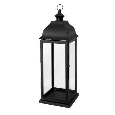 22 in. Traditional Black Steel Outdoor Patio Lantern