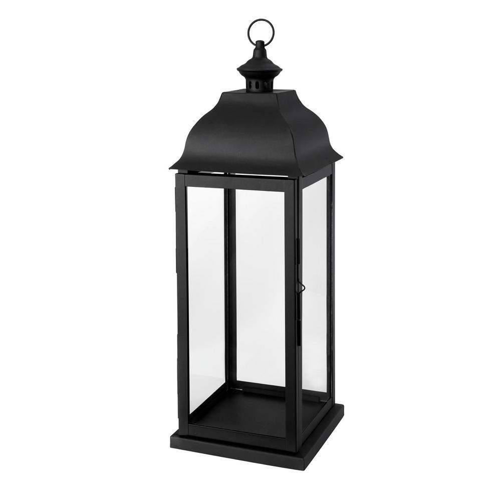22 in. Traditional Black Steel Outdoor Patio Lantern