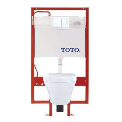 MH Wall-Hung 2-Piece 0.9/1.28 GPF Dual-Flush Elongated Toilet with Copper Supply in Cotton White