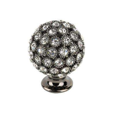 Crystal Collection 1 in. Black and Blue Nickel Crystal Round Knob