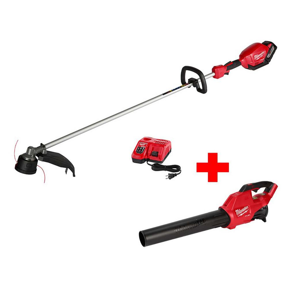 Milwaukee M18 FUEL 18-Volt Lithium-Ion Brushless Cordless 16 in. String Trimmer 9.0Ah Kit with M18 GEN II FUEL Blower