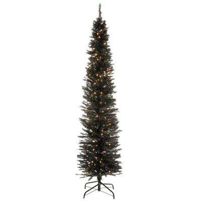 6 ft. Black Tinsel Tree with Metal Stand and 150 Clear Lights