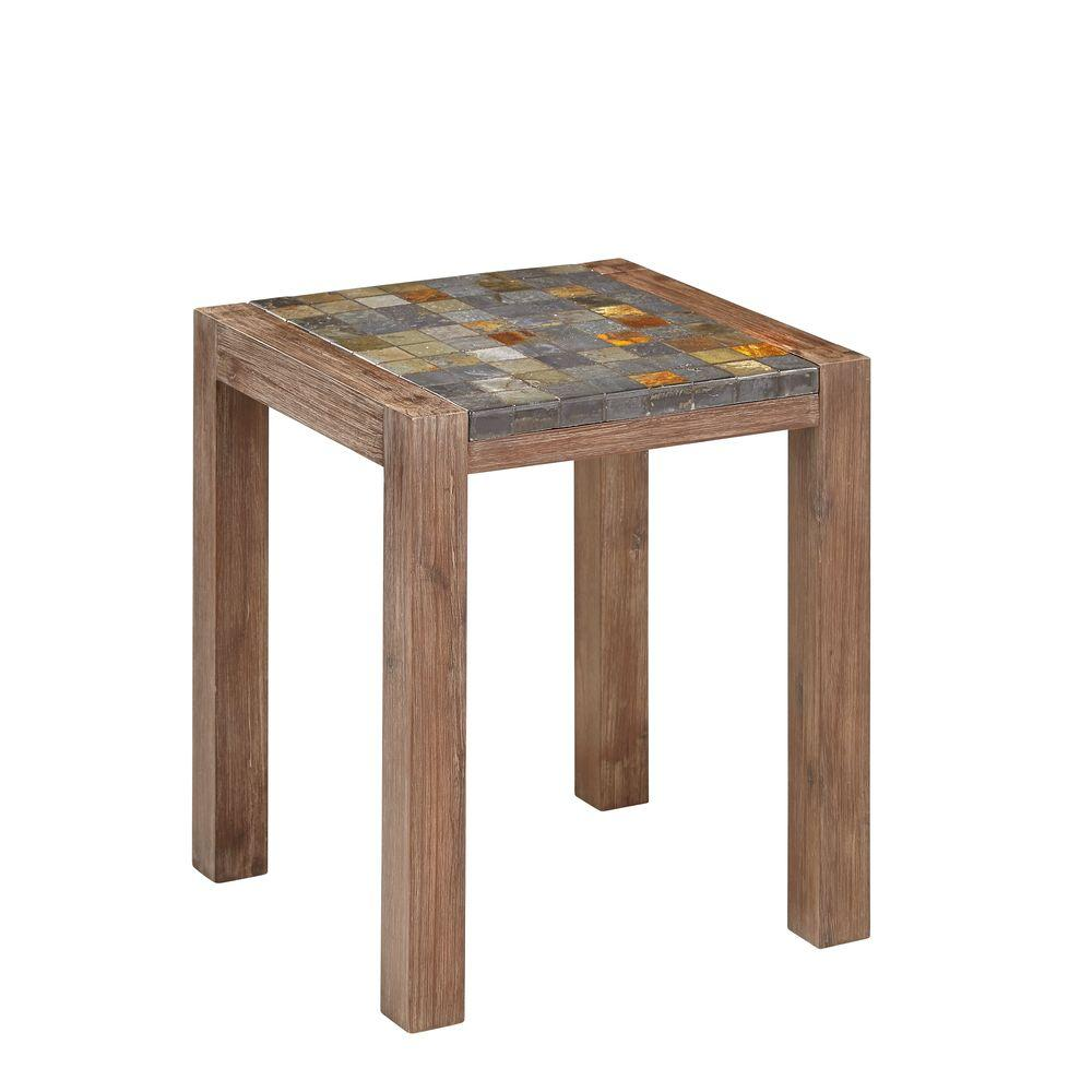 Homestyles Morocco Indoor Outdoor Patio End Table With Slate Top