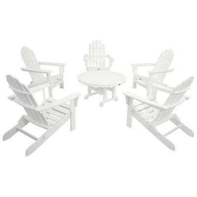 Cape Cod Classic White 6-Piece Folding Adirondack Patio Conversation Set