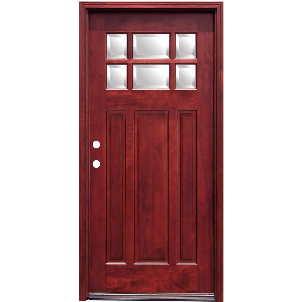 Pacific entries 36 in x 80 in craftsman 6 lite stained mahogany craftsman 6 lite stained mahogany wood prehung front door m36mr the home depot rubansaba