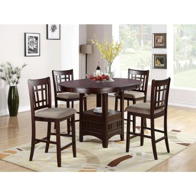 Brown Round Counter Height Table with Open Shelf