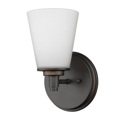 Conti 1-Light Oil-Rubbed Bronze Sconce with Etched Glass Shade