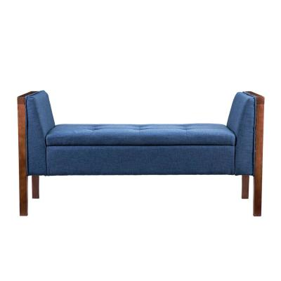Larksmill Blue Upholstered Entryway Bench