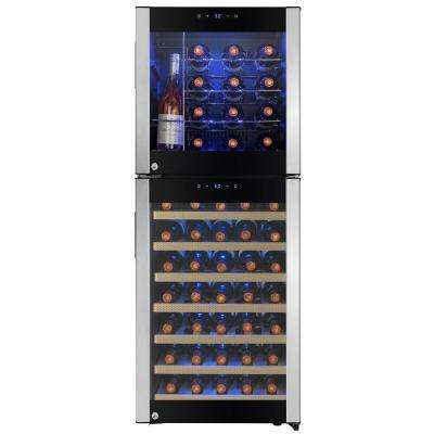 50 in. 58 Bottle Freestanding Compressor Wine Cooler in Stainless Steel with Key Lock